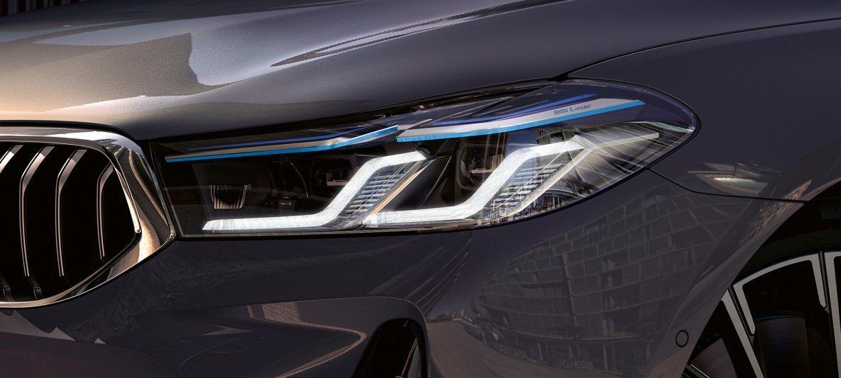 BMW Laserlicht BMW 6er Gran Turismo 640i xDrive G32 2020 Berninagrau Nahaufnahme Front