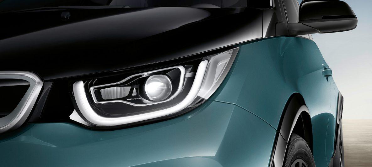 BMW i3 I01 2018 Jucarobeige mit Akzent Frozen Grey metallic Nahaufnahme Front LED-Frontscheinwerfer